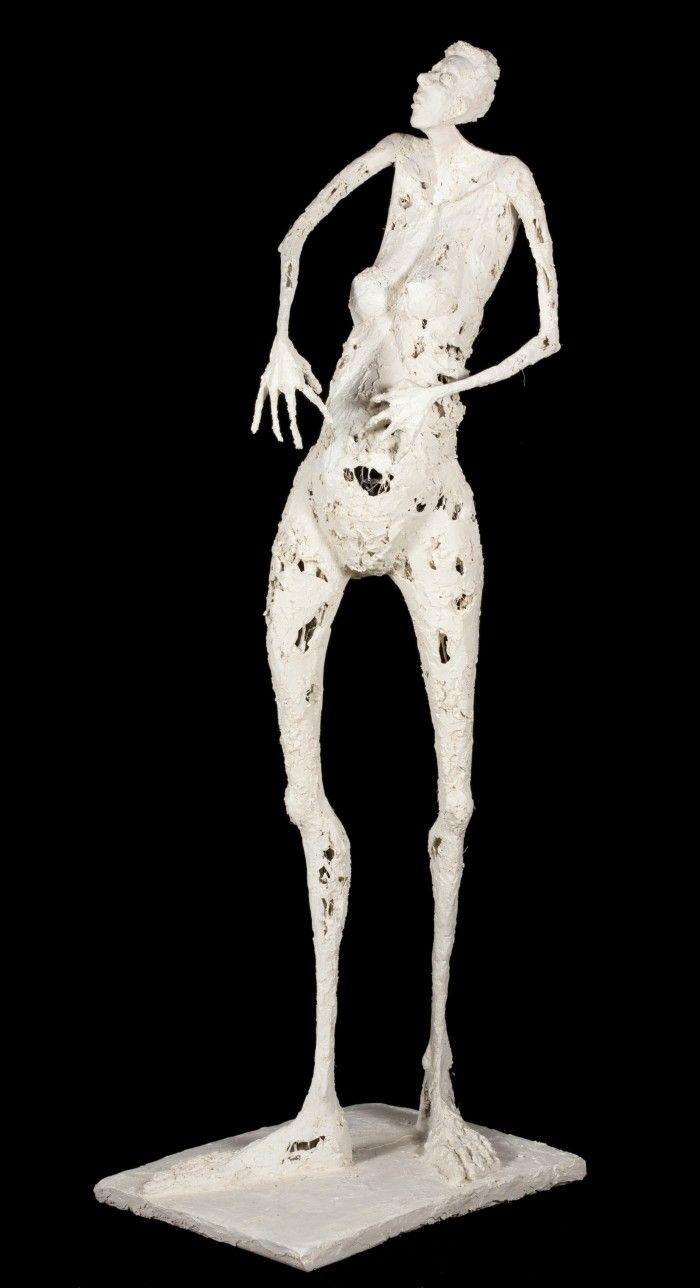 Annonciation - Plâtre et filasse - H. 93 cm