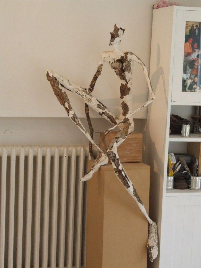 Le rêveur - Plâtre et bois - H. 1m40