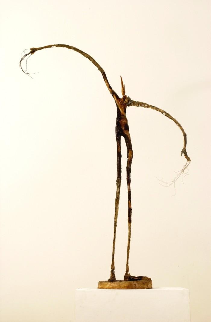 Reine de Sabbat - Plâtre et bois - H.1m08 sur socle diamètre 23 cm